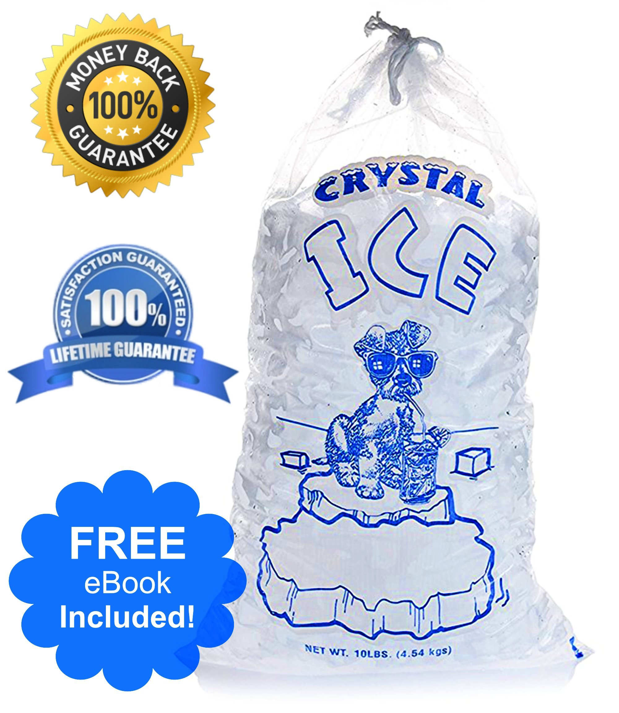 Crystal Clear Commercial Ice Bags with Drawstring (10 lb or 20 lb) - Extra STRONG, Reusable, Puncture-Proof - Safe Food Grade Plastic (1.5 mil) (10lb (Pack of 100))