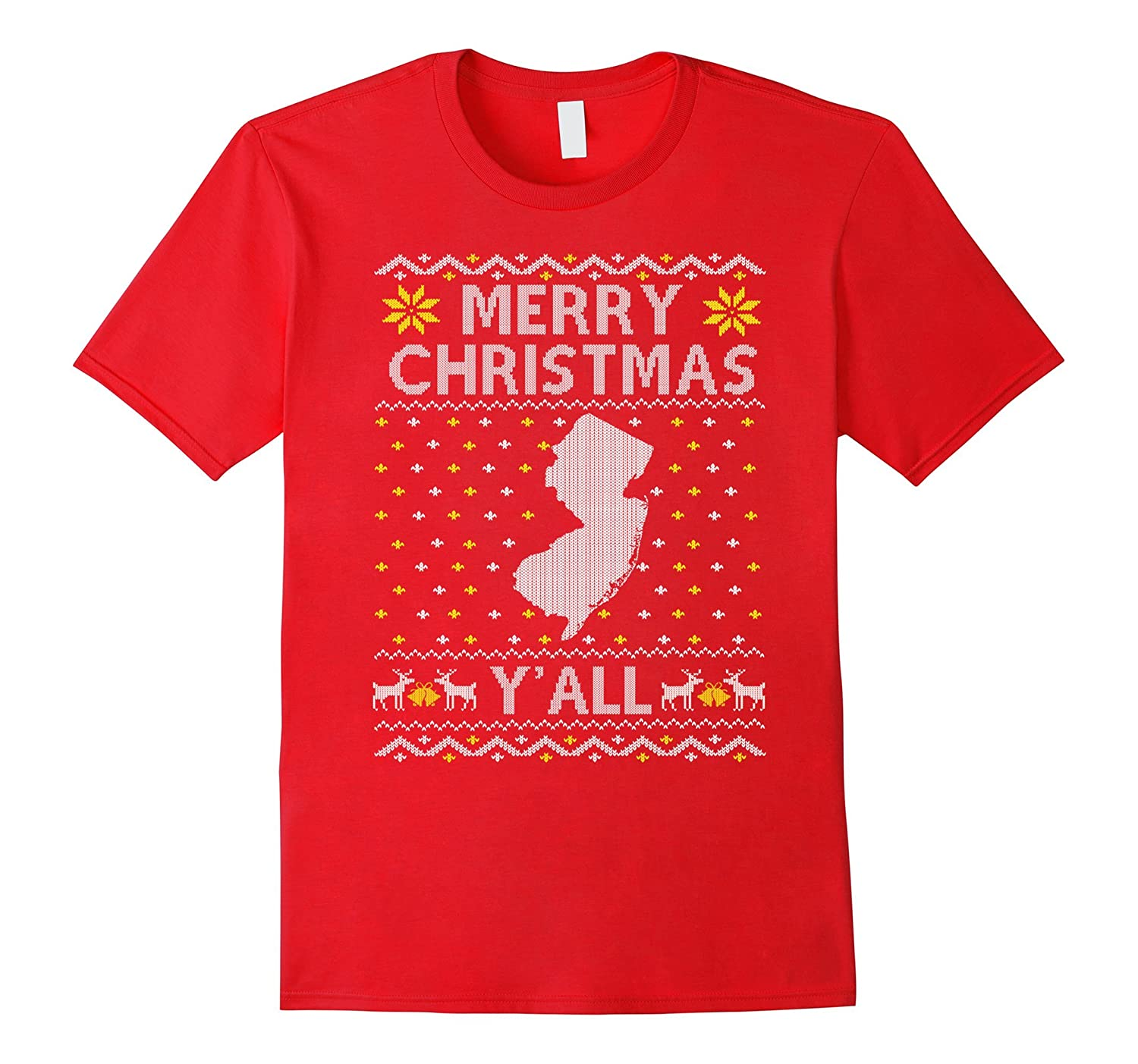 New Jersey Merry Christmas Y'all T-shirt State Map-FL
