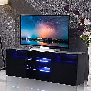 A1-High Gloss Balck - Mueble de TV con luz LED y Consola de 2 Puertas (57 Pulgadas): Amazon.es: Hogar