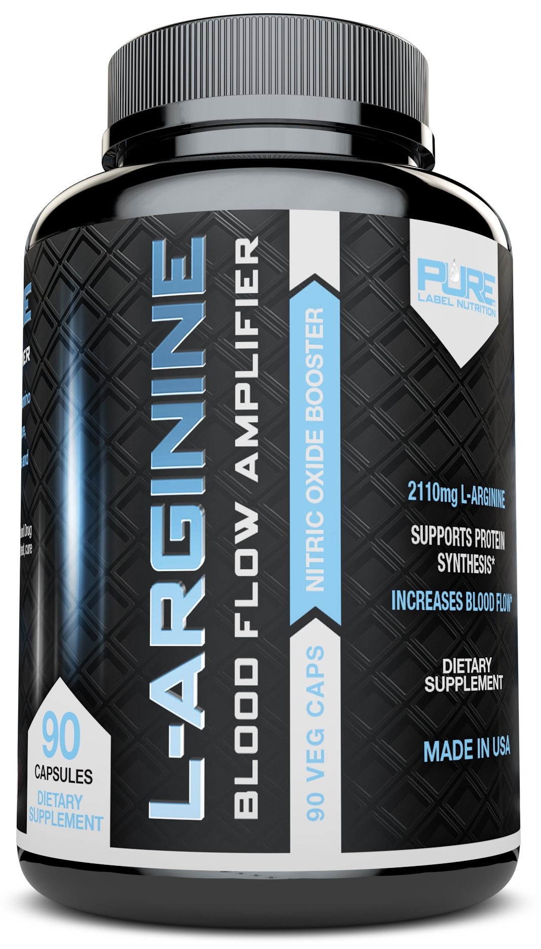 L-Arginine PURE-A 2110mg L Arginine Nitric Oxide Booster, Build Muscle Increase Strength and Boost Sex Drive - Best Purest Arginine + Top Rated - Most Effective Dose for Men and Women - MADE IN USA  90 capsules