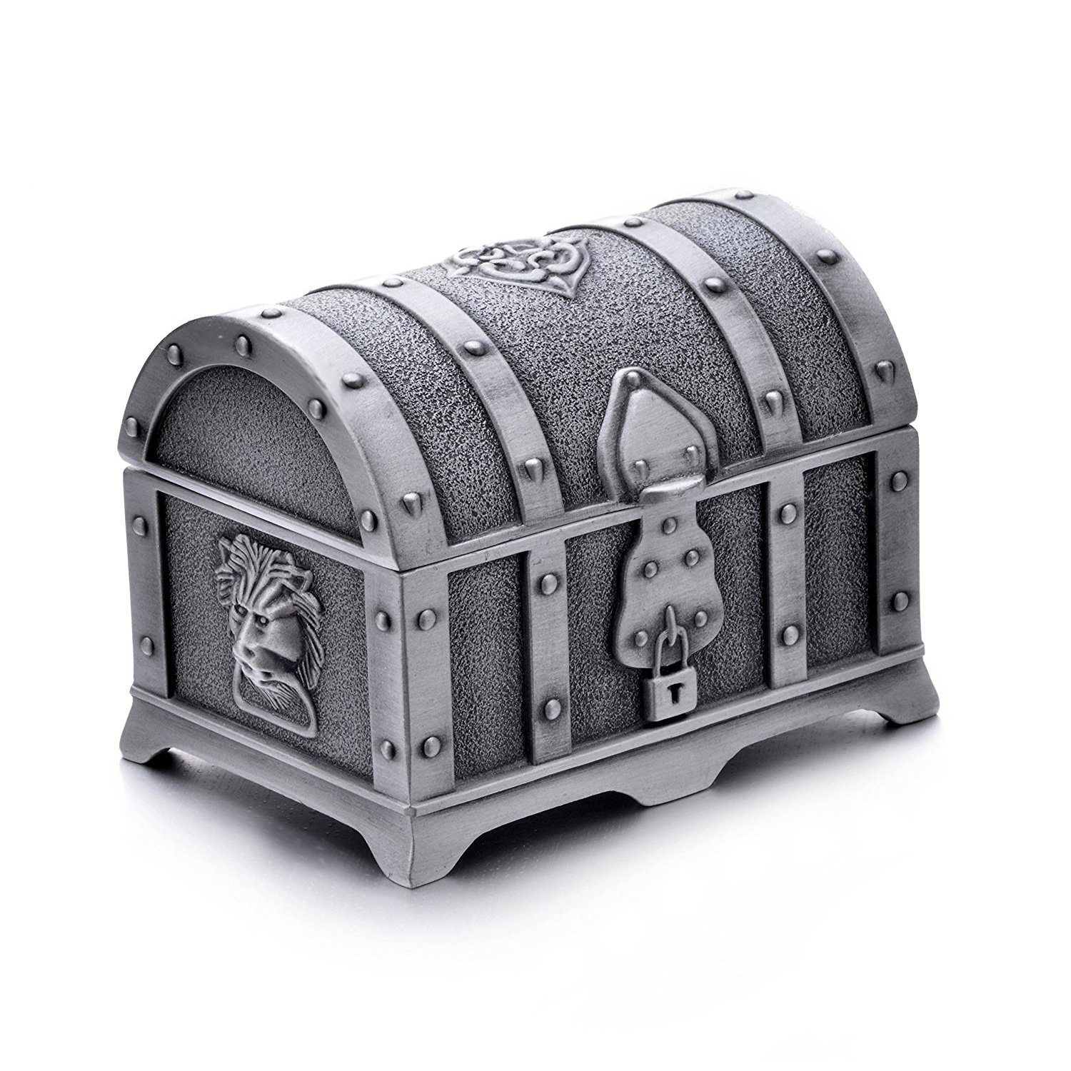 AVESON Rectangle Vintage Metal Treasure Chest Trinket Jewelry Box Gift Box Ring Case for Girls Ladies Women, Small, Ancient tin color
