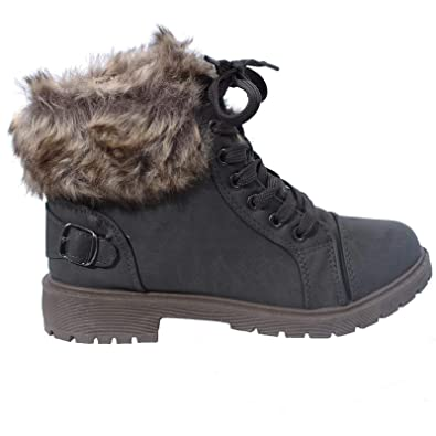 NEW WOMENS LADIES FLAT WARM FUR LINED GRIP SOLE SNOW BOOTS WINTER SHOES SIZE 3-8