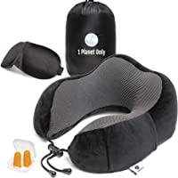 1PlanetOnly Travel Pillow, Memory Foam Pillow, Travel Neck Pillow, Travel Neck Support Pack including Carry Bag, Sleep Mask, Noise Blocking Earplugs and Phone Pocket. Ergonomic Design for Extreme Comfort, Super Soft Washable Cover, 100% Eco-Friendly Premium Quality Material. For Adults and Kids. Great for Plane, Train, Car, Couch.