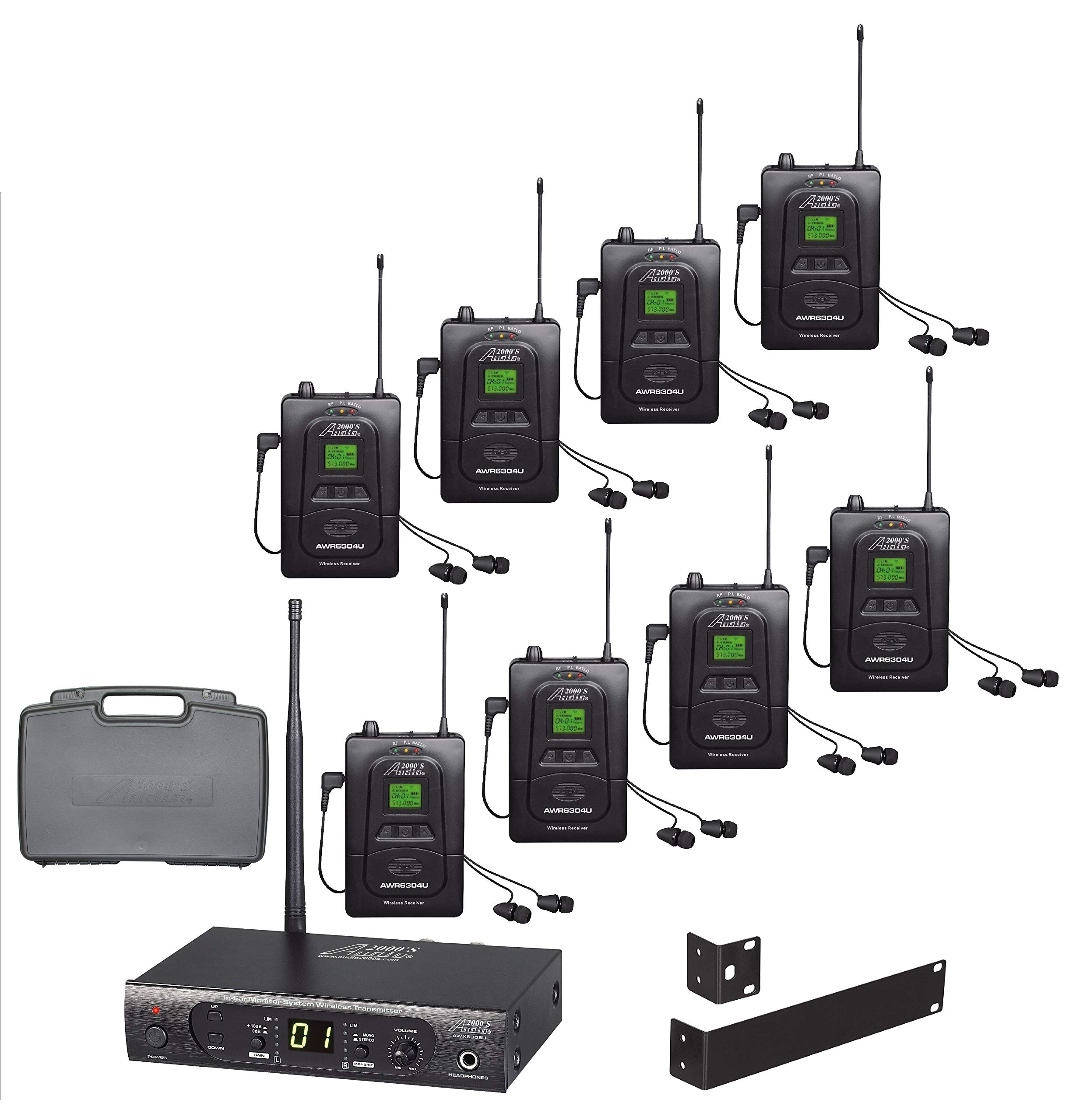 Audio2000'S AWM630CU UHF 100 Selectable Frequency Wireless In-Ear Monitor System with Eight Wireless Receivers and a PVC Carrying Case by Audio 2000S