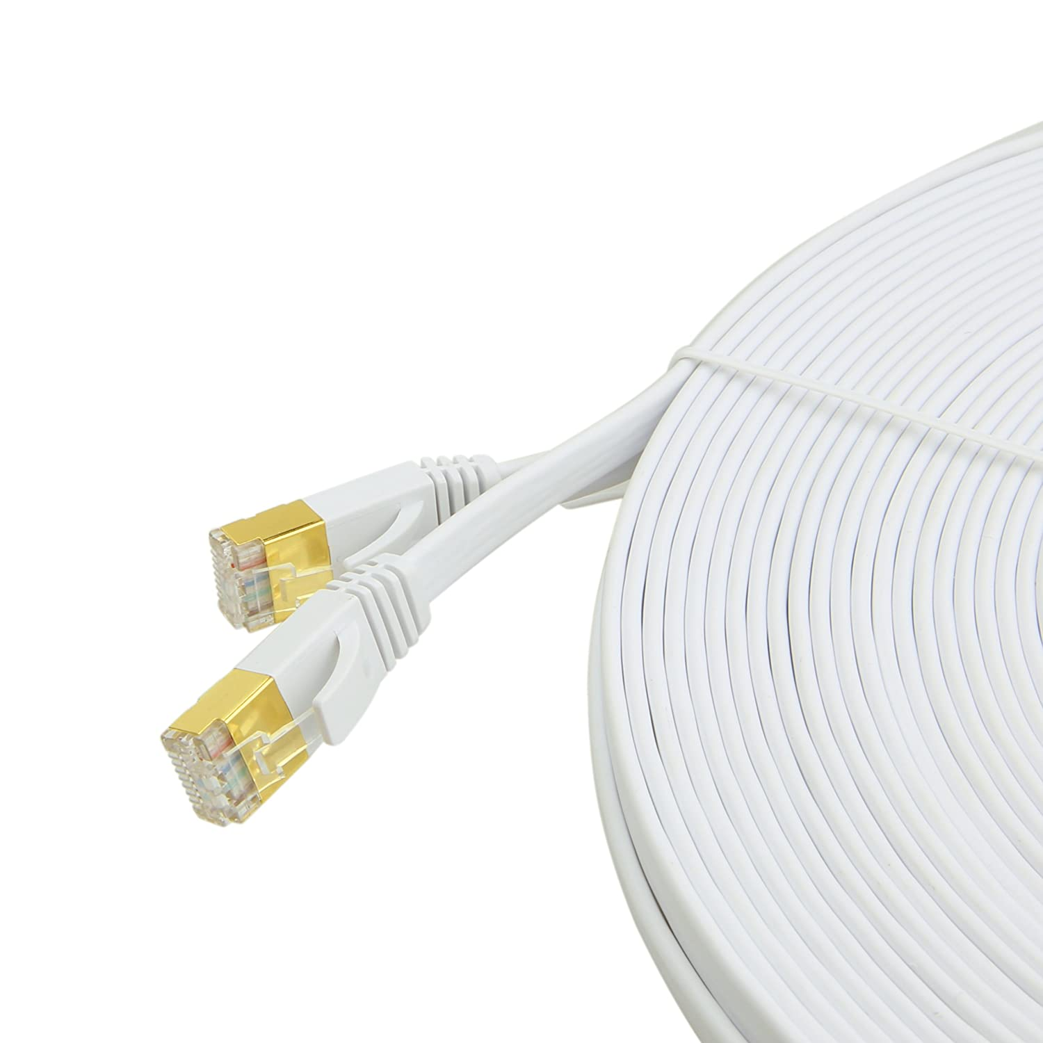 Cat7 Ethernet Cable 100 Feet With Clipssnagless Network Cables Cat5e Black Flat Patch 32 Awg 50 Foot Micron Gold Plated Rj45 Shielded White Ft Computers