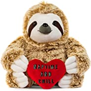 Light Autumn Valentines Day Stuffed Animals - Girlfriend Gifts - Naptime and Chill Valentine Sloth Bear for Her - Cute Funny