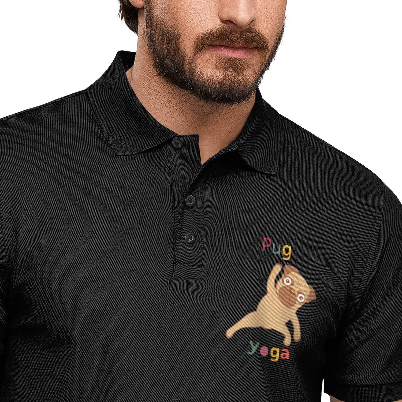 ZWZHI Puppy Pug Yoga Printed Mens Polo Shirt Summer Button Down Fashion Tee