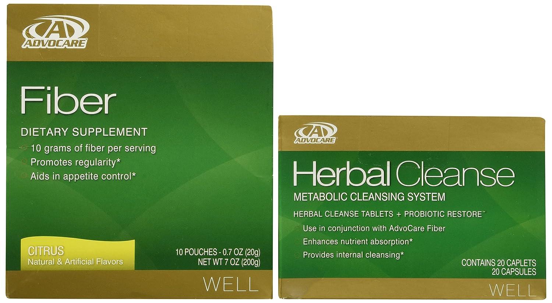 AdvoCare Herbal Cleanse & Fiber CITRUS (kit) | Herbal Cleanse 20 Capsules &  Fiber 10 Pouches