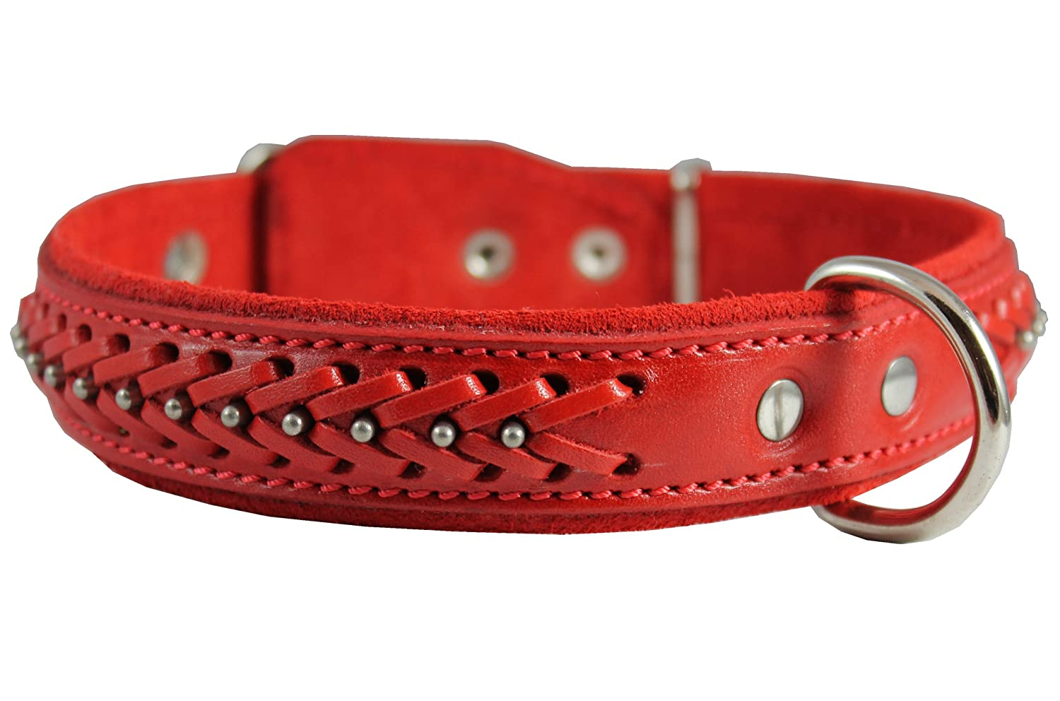 High Quality Genuine Leather Braided Studded Dog Collar, Red 1.25  Wide. Fits 16 -20.5  Neck.