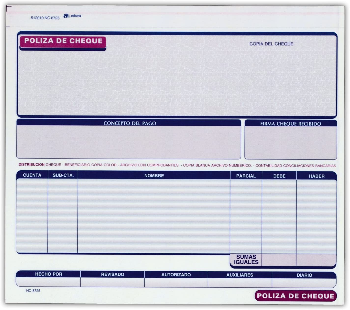 Adams Poliza De Cheque Carbonless 25 Sets per Pack Spanish Language Check Record White//Canary 8.5 x 7.38 2-Part