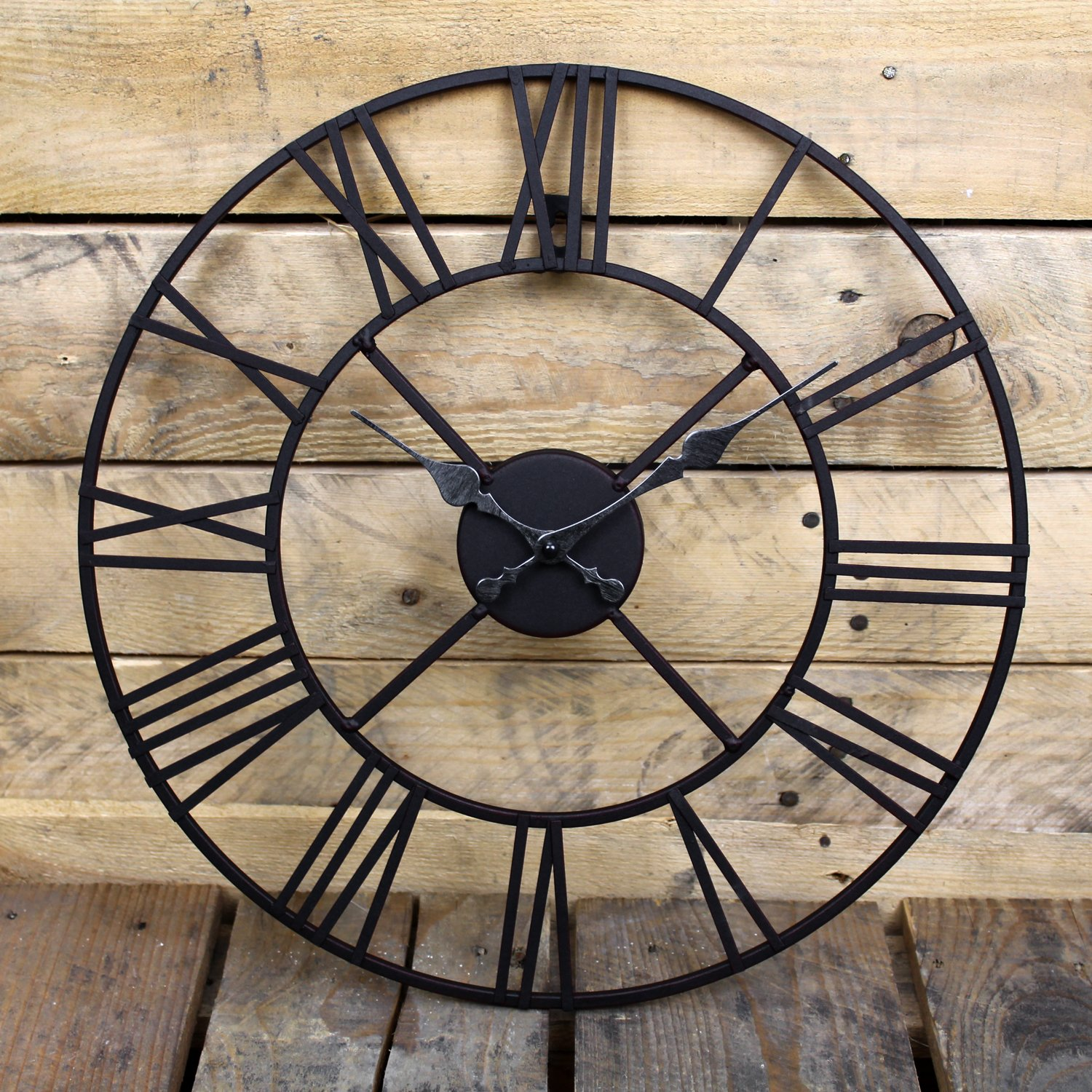 Amazon stunning metal roman numeral clock black iron by amazon stunning metal roman numeral clock black iron by kitchen clocks and wall clocks kitchen dining amipublicfo Image collections