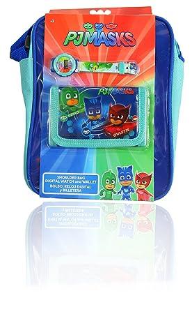 PJ MASKS Reloj digital para niños + billetera + bolsa, con licencia oficial