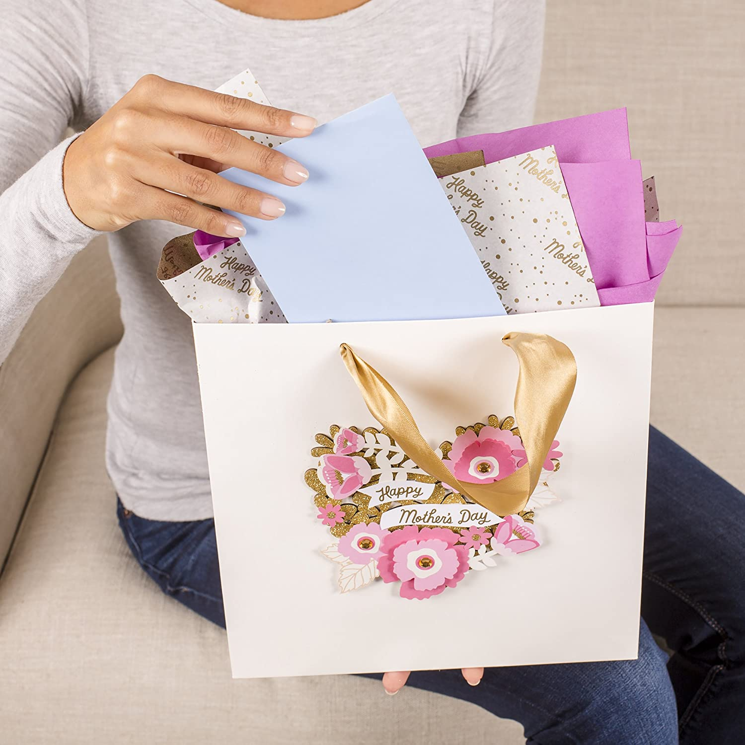 Hallmark Signature 10 Large Mothers Day Gift Bag with Tissue Paper Pink Floral Heart, Gold Glitter