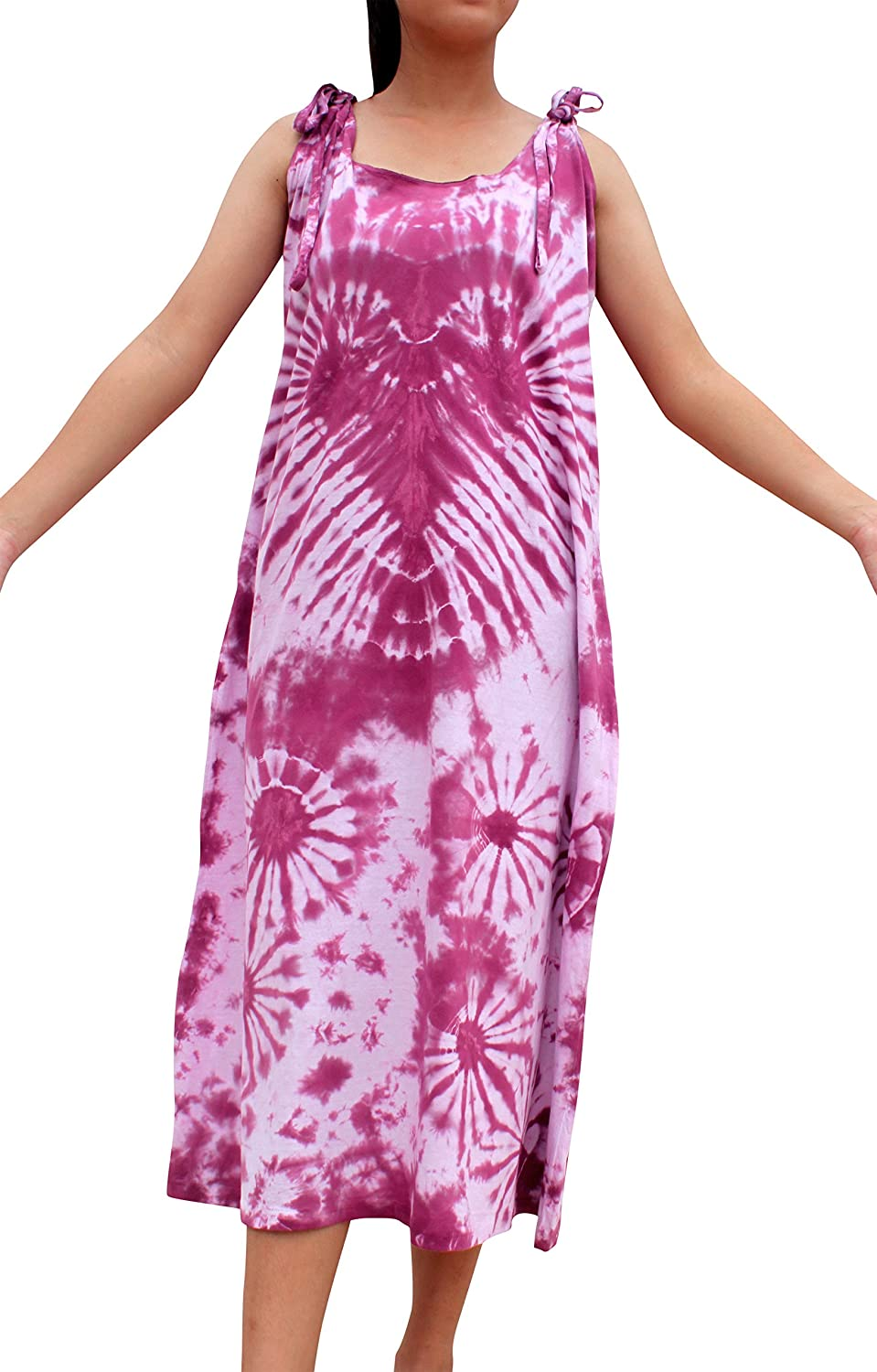 Plum Purple Full Funk Psychedelic Woven Cotton Tie Dyed Dress with Adjustable Shoulder Straps