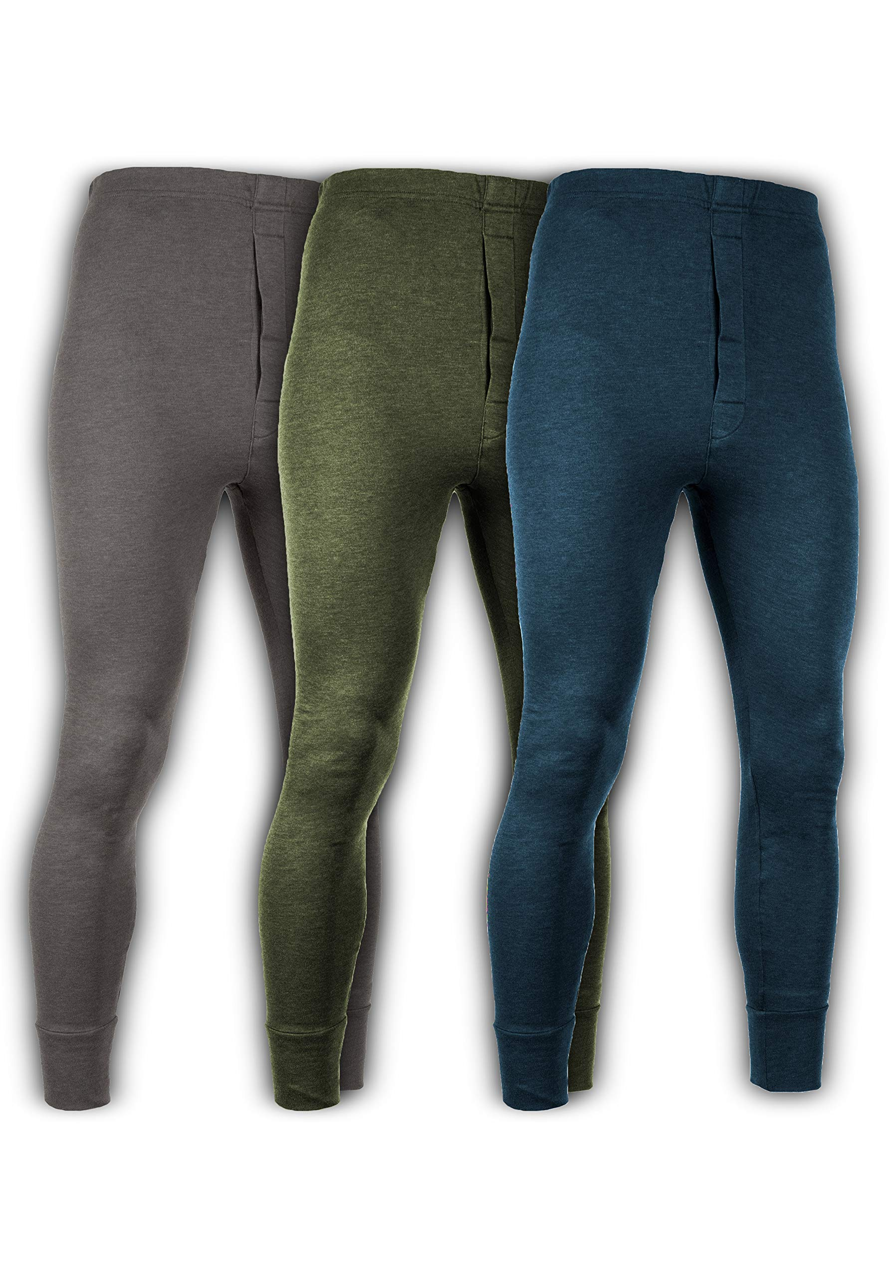 Andrew Scott Men's 3 Pack Premium Cotton Base Layer Long Thermal Underwear Pants (3 Pack- Charcoal/Olive/Legion Blue, XX-Large) by Andrew Scott