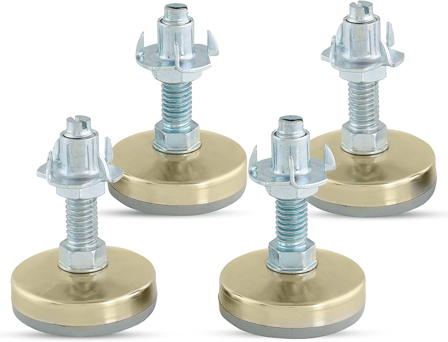 Heavy Duty Furniture Leveler Tee Nut Kit – Set of 4-3/8-16 Non-Skid Leg Levelers for Cabinets or Tables to Adjust Height of The Legs or Feet Jam Nuts to Stabilize Each Foot (Kit with 4 Prong T-Nuts)
