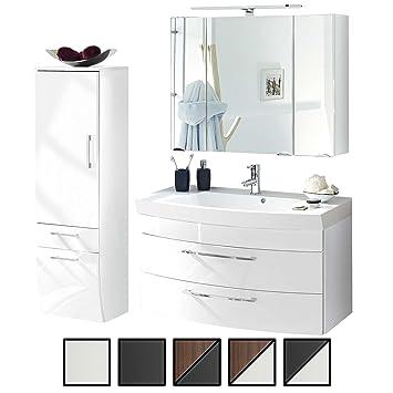 Badmobel Set Verona Medium Weiss 3 Tlg Spiegelschrank 90 Cm Led Beleuchtet Waschtisch Unterschrank 100 Cm Mit 2 Schubladen Bad Hochschrank 40 Cm