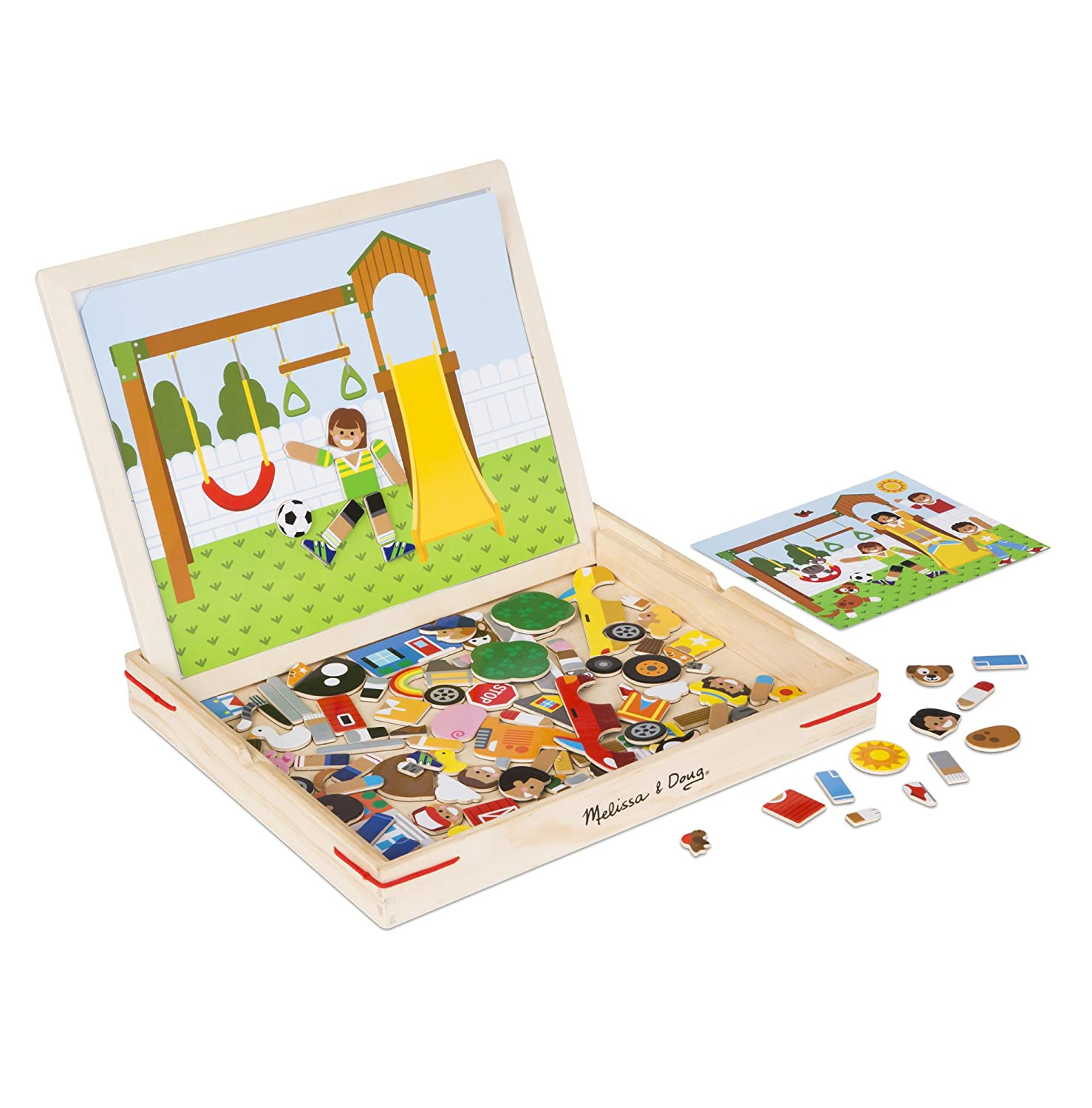 Melissa /& Doug 19918 Wooden Matching Picture Game with 119 Magnets and Scene Cards Multi-Colour
