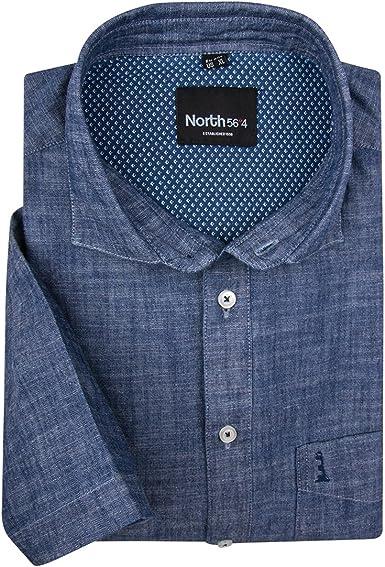 Allsize XXL Norte 56°4 by Camisa Manga Corta Jaspeada Azul ...