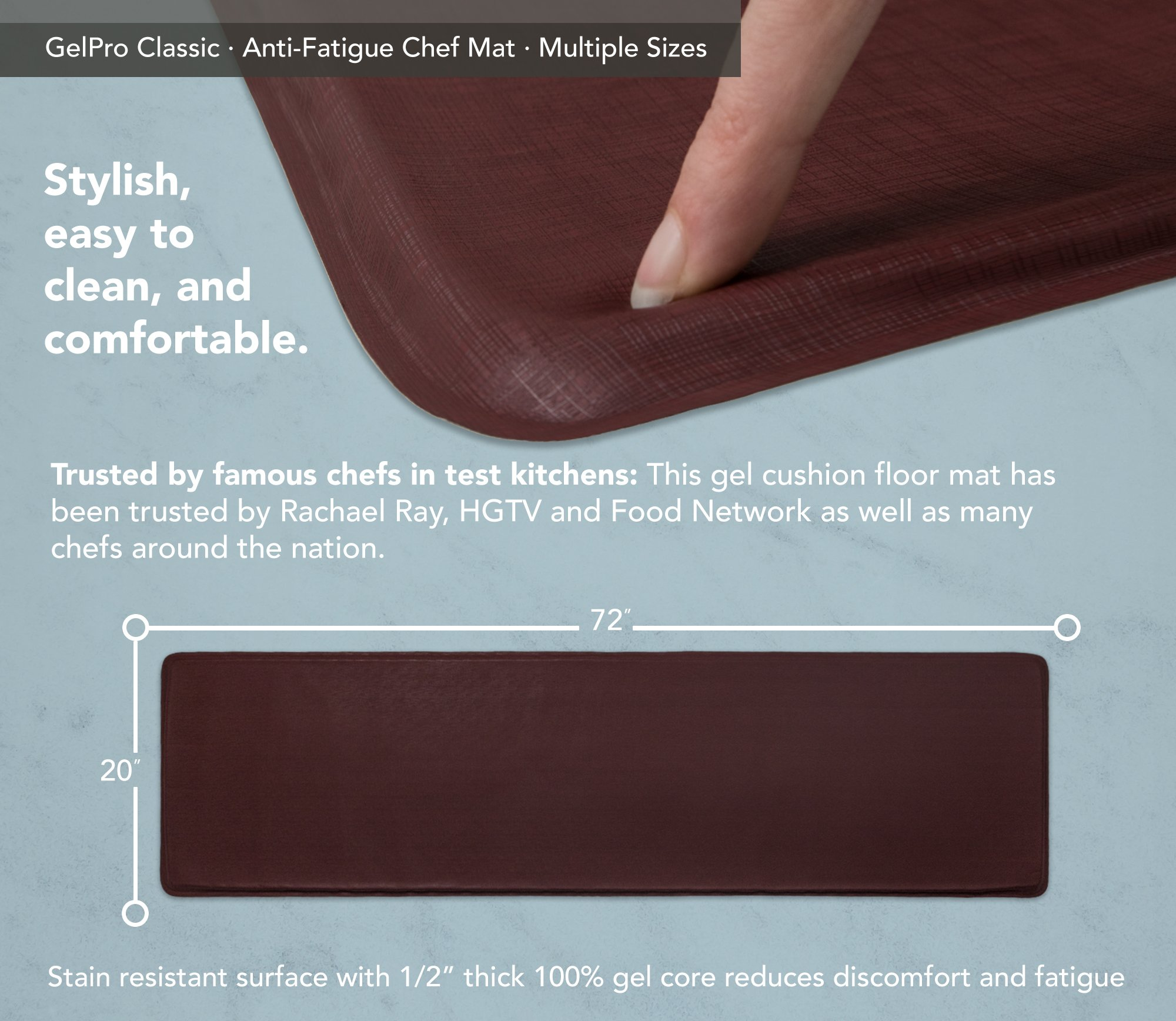 """GelPro Classic Anti-Fatigue Kitchen Comfort Chef Floor Mat, 20x72"""", Linen Cardinal Stain Resistant Surface with ½"""" gel core for health & wellness by GelPro (Image #3)"""