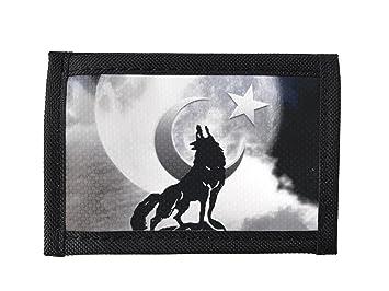 eef2e2eecac1a Gök-Türk Geldbörse  Wolf   Mond  für Herren - unisex - Stoff ...