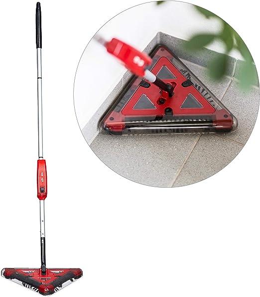 Relaxdays - Escoba eléctrica Triangular Batería Sistema Cepillo 4 Piezas Cargador Limpieza: Amazon.es: Bricolaje y herramientas