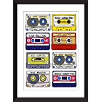 Favourite Albums - Personalised Unframed Cassette Print - Perfect Gift Idea/Álbumes favoritos - Impresión de casete sin…