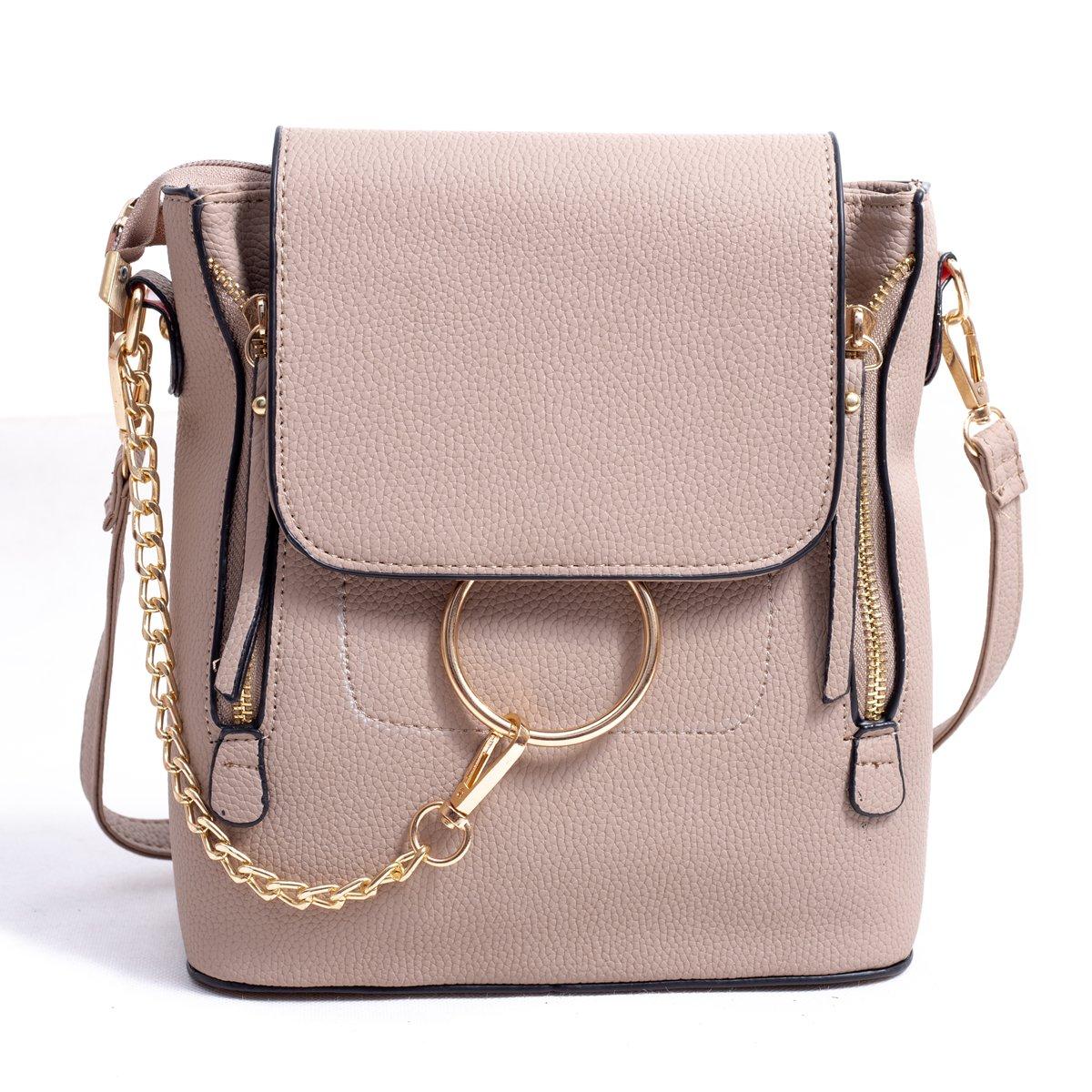 BABORRY Women Crossbody Chain Backpack Purse Small Pu Designer Leather Shoulder Bag for women Ladies Brown Handbags (Khaki)