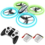 Q9s Drones for Kids,RC Drone with Altitude Hold and Headless Mode,Quadcopter with Blue&Green Light,Propeller Full…