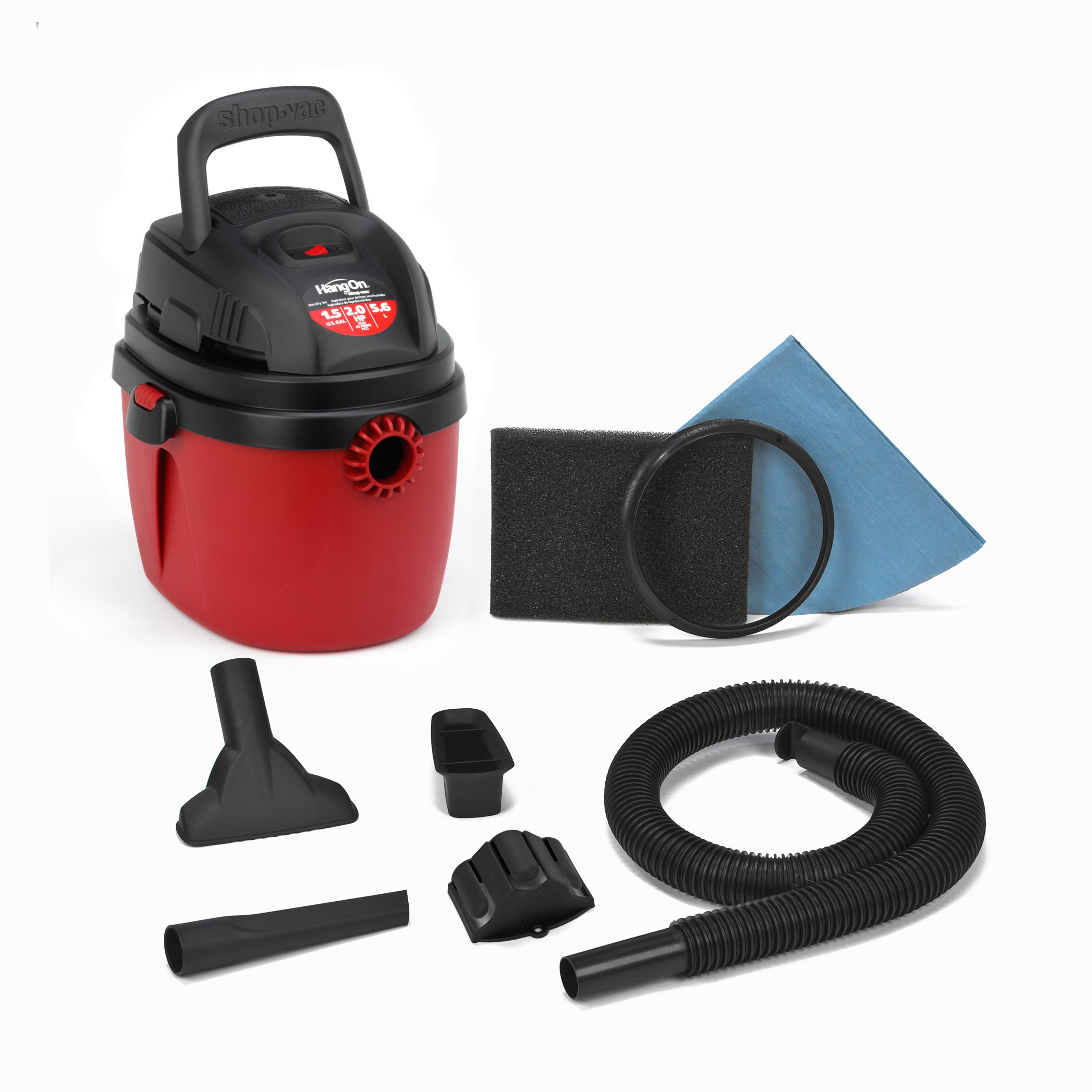 Shop-Vac 2030100 1.5-Gallon 2.0 Peak HP Wet Dry Vacuum, Small, Red/Black by Shop-Vac