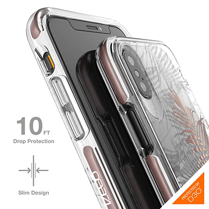 online store 05f3b 48e9a Gear4 Victoria Protective Fashion Case with Advanced Impact Protection [  Protected by D3O ], Slim, Stylish Design for iPhone X/XS – Palms Copper ...