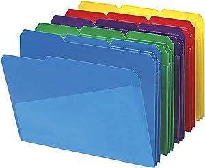 Smead Slash Pocket Poly File Folders, 1/3-Cut Tab, Letter Size, Assorted Colors, 30 per Box (10540)