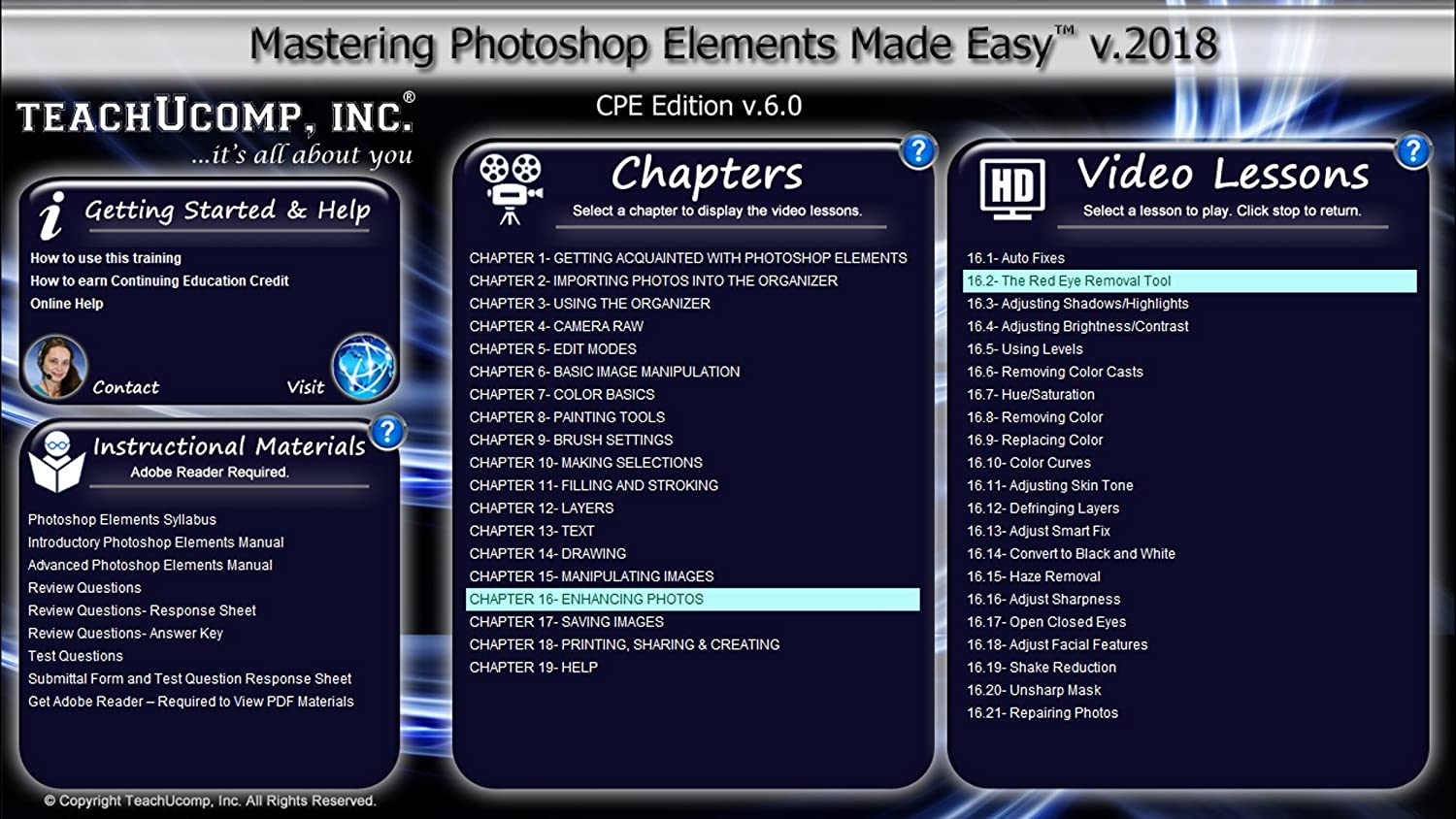 Amazon.com: Learn Photoshop Elements 2018 DELUXE CPE Training Tutorial  Package Video Lessons, PDF Instruction Manuals, Printed and Laminated Quick  Reference ...