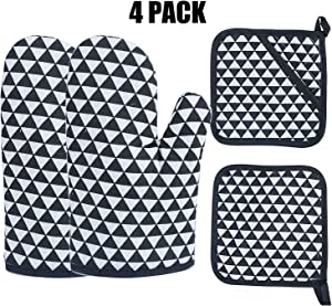 Oven Mitts 4pcs Pot Holders Heat Resistant up to 482F/250°C Non-Slip Silicone Mesh Mitts Food Grade Kitchen Mitten Cooking Gloves for Baking, BBQ (4 Pack Black and White)