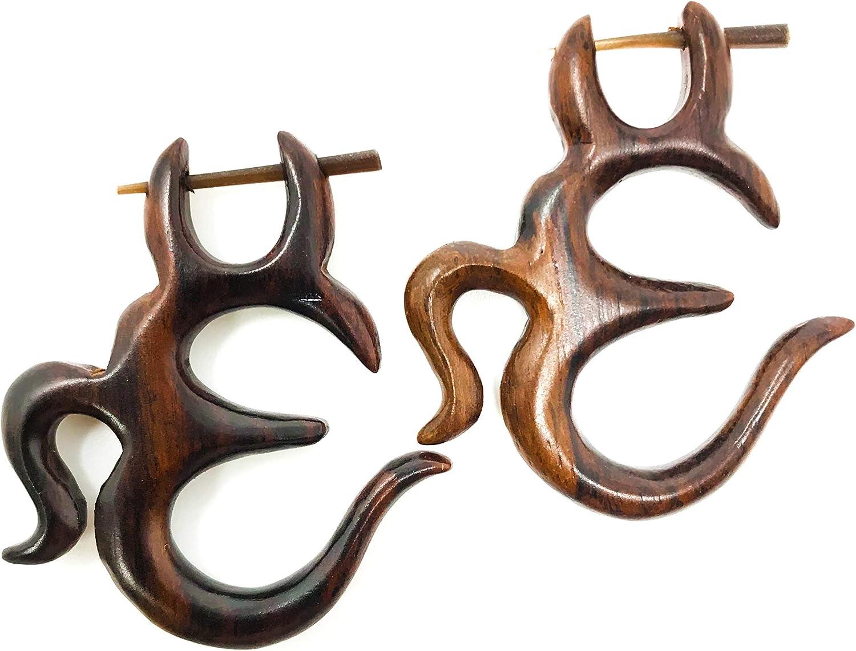 Ethnic Wooden Handcrafted Snake Design Brown Wood Fake Gauge Stud Earring WER503