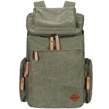 469e3a71d7f9b Fafada Herren Damen Unisex Vintage Canvas Rucksack Retro Rucksack Vintage  für Outdoor Camping Universität Armeegrün