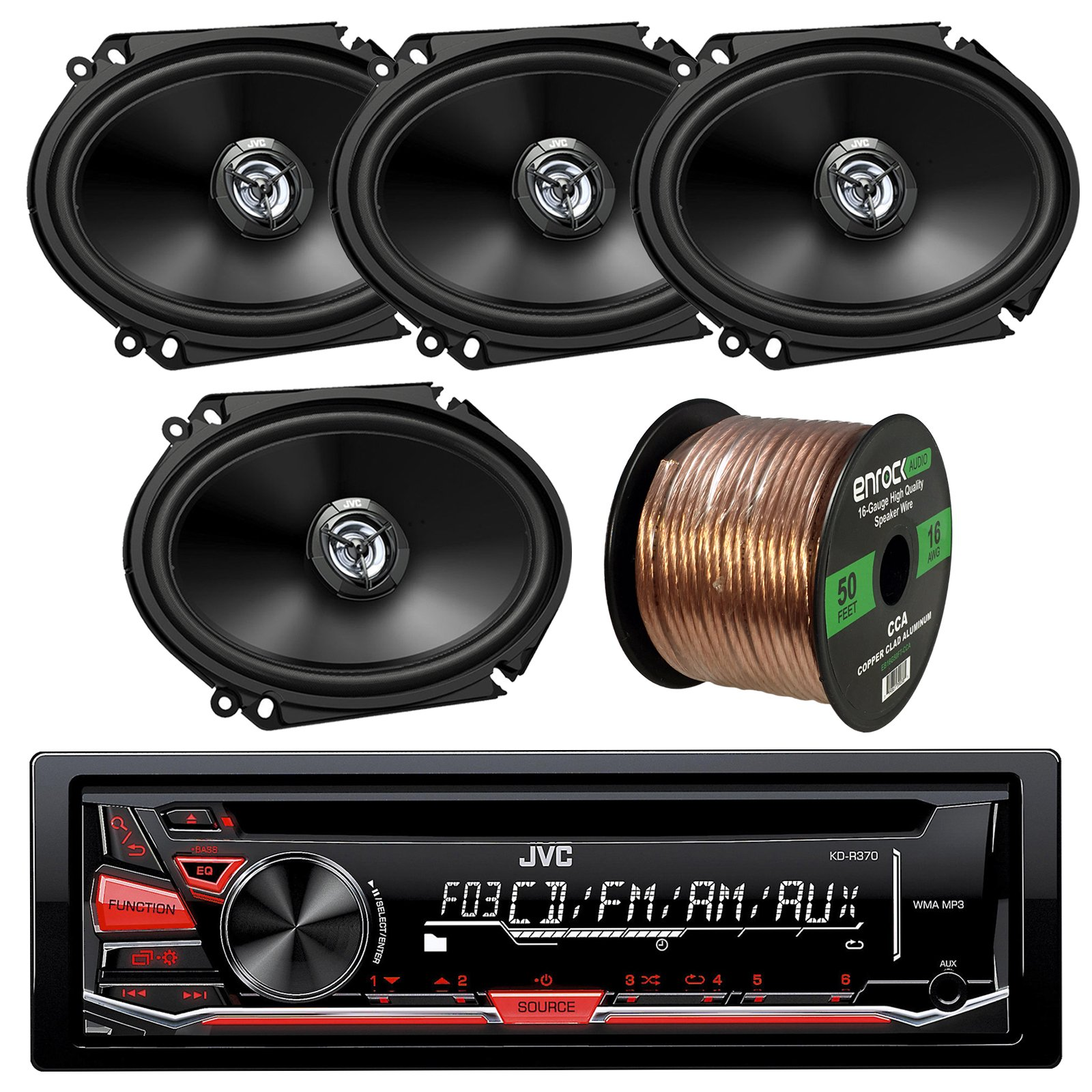 JVC KD-R370 CD/MP3 AM/FM Radio Player Car Receiver Bundle Combo With 4x (2 Pairs) CS-DR6820 300-Watt 6x8'' Inch Vehicle Coaxial Speakers + Enrock 50 Feet 16-Gauge Wire by JVCAudioBundle