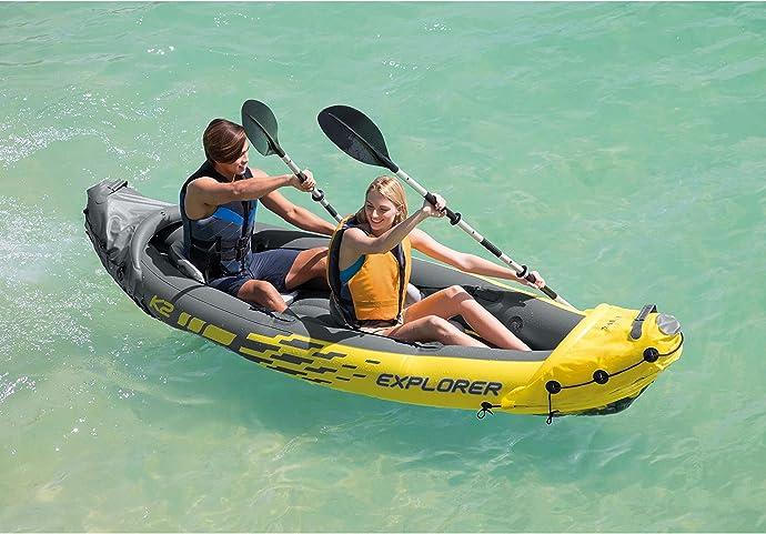 金盒特价 Intex Explorer K2 二人充气皮划艇套装 含双桨+手动充气泵 3.5折$50.39 海淘转运到手约¥1554