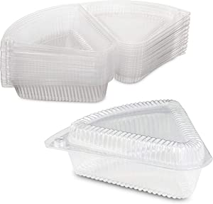 Hinged Medium Shallow Plastic Pie/Cheesecake/Cake Slice Container for 9 inch Pies by MT Products - Pack of 20