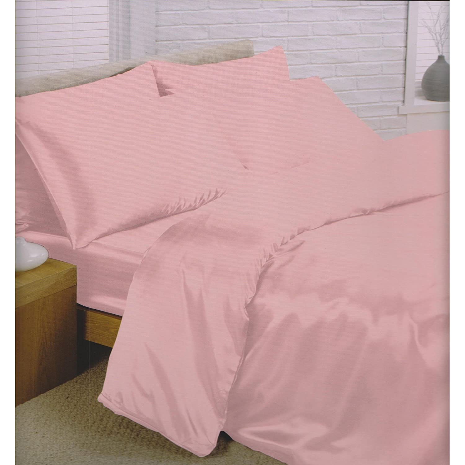 amazoncom charisma satin bedding set duvet cover fitted sheet u0026 pillowcases queen size bed cream home u0026 kitchen