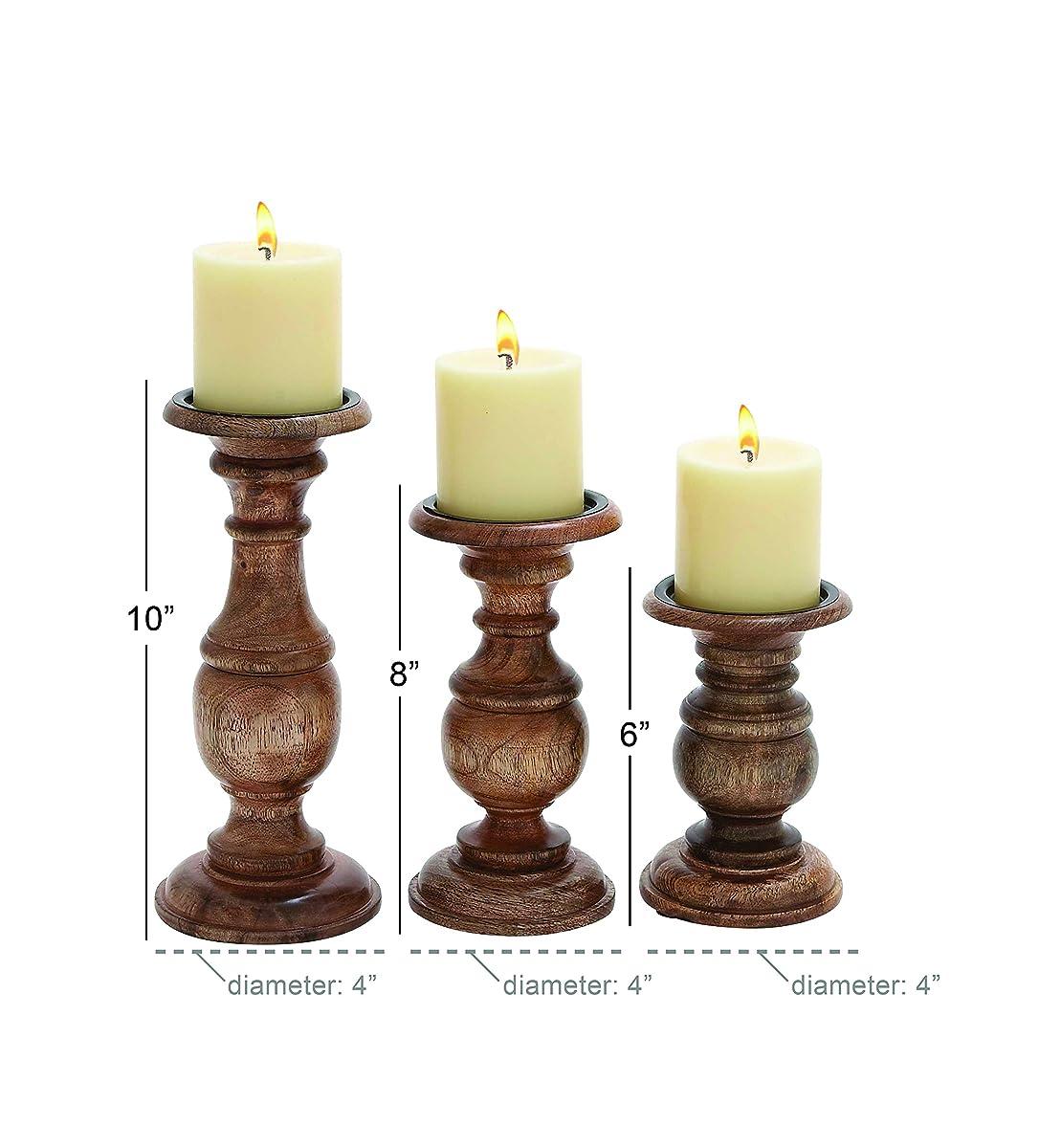 "Deco 79 51536 Wood Candle Holder (Set of 3) 10"", 8"", 6"" H"