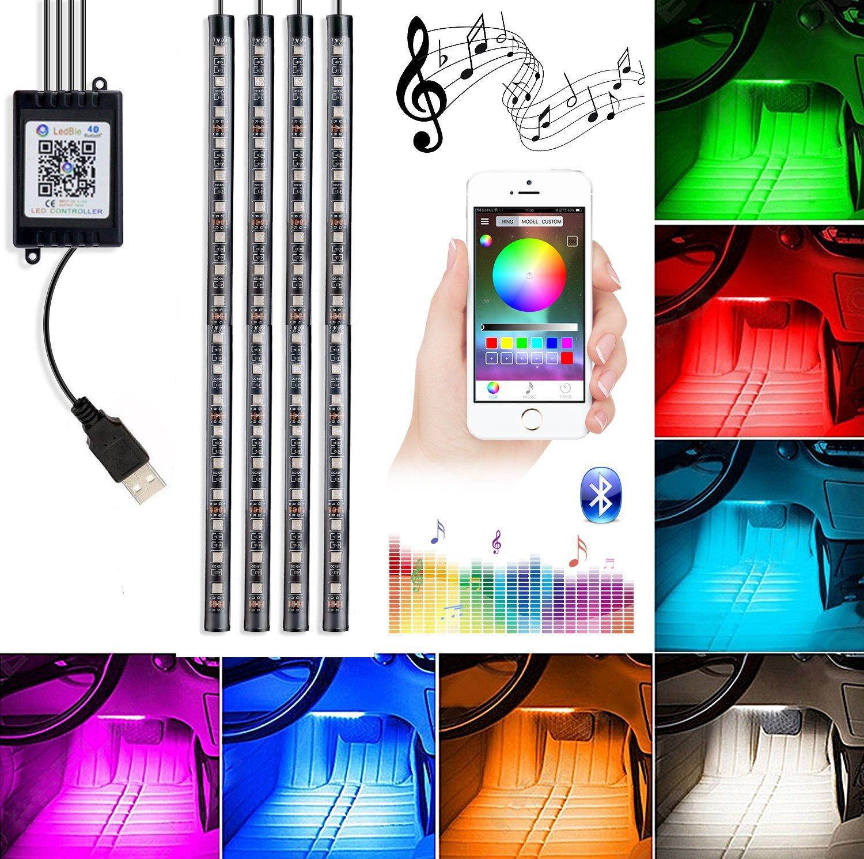 Car Interior Lights, 4Piece DC5V 72LEDs USB Auto LED Atmosphere Decor Strip Lights Multi-color Music RGB Under Dash Lighting Kit, With Sound-activated, APP Control
