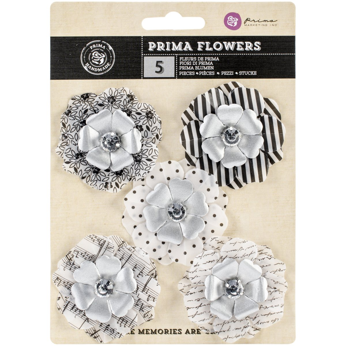 Prima Marketing Penguin Juno Vellum Flowers, 2.25-Inch, 5-Pack