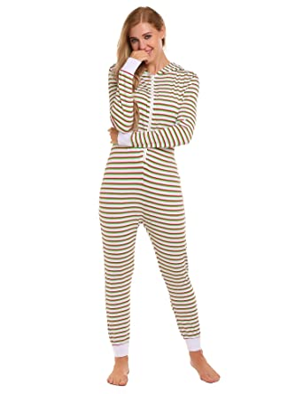 eec01a0974 Ekouaer Striped OneSize Jumpsuit Non Footed Pajama One Piece Women ...