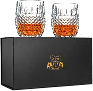 Unique Whiskey Glasses Set of 2. Lead Free Crystal Rocks Tumblers (300ml). 'Crystal Cask' by Van Daemon for Spirits, Bourbon or Scotch. Perfectly Gift Boxed.