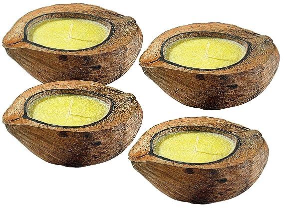 infactory Anti-Moskito-Kerze: Anti-Mücken-Kerzen in Kokosnuss-Schale (4er Set) (Insektenkerze)