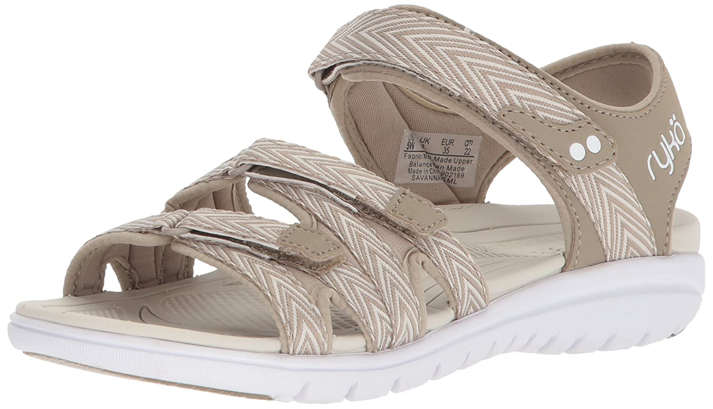 Ryka Women's Savannah Sandal B07577W583 10.5 B(M) US|Moonrock/Snowline Ecru
