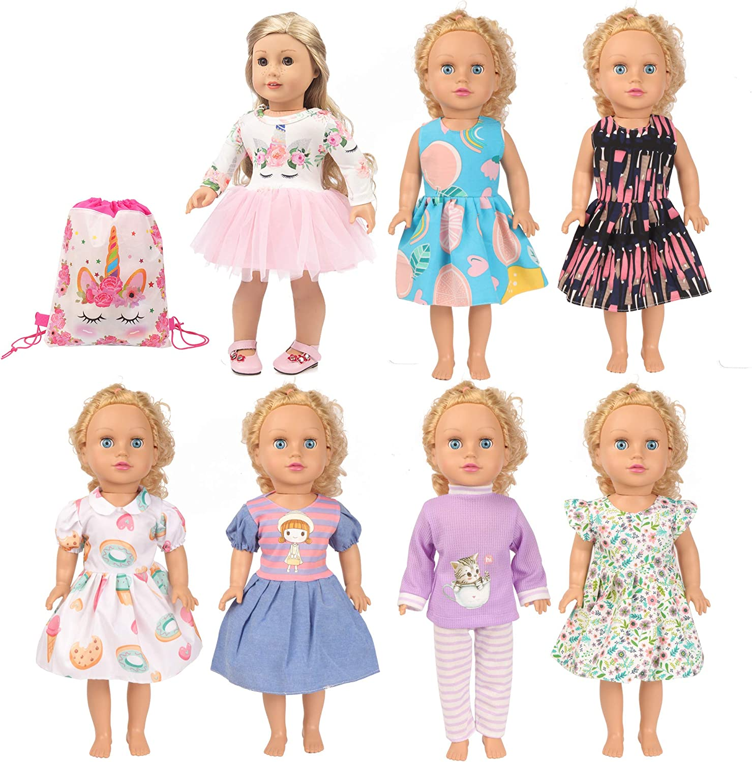 SOTOGO 7 Sets 18 Inch Doll Clothes Doll Outfits Doll Accessories with Storage Bag, Doll Clothes for American 18 Inch Girl Doll