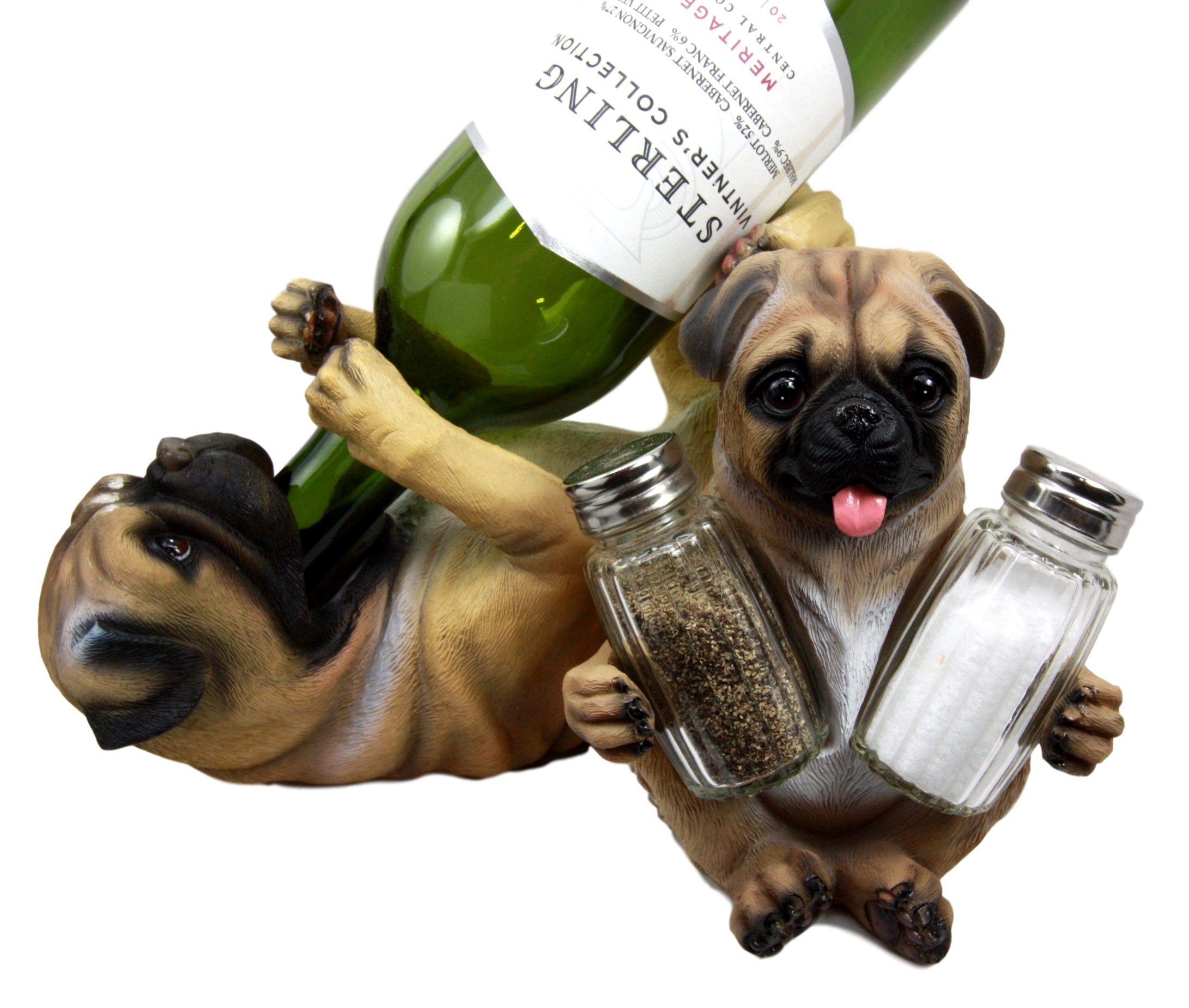 Atlantic Collectibles Adorable Canine Pug Dog 10.75'' Tall Wine Bottle And Salt Pepper Shakers Holder Figurine Set by Atlantic