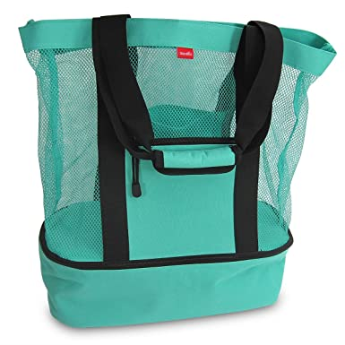 Amazon.com: Aruba Mesh Beach Tote Bag with Insulated Picnic Cooler ...